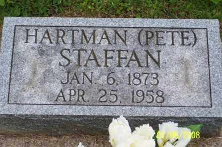 "STAFFAN, HARTMAN ""PETE"" - Ross County, Ohio | HARTMAN ""PETE"" STAFFAN - Ohio Gravestone Photos"