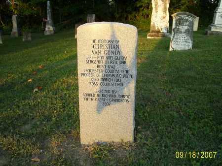 VAN GUNDY, CHRISTIAN - Ross County, Ohio   CHRISTIAN VAN GUNDY - Ohio Gravestone Photos