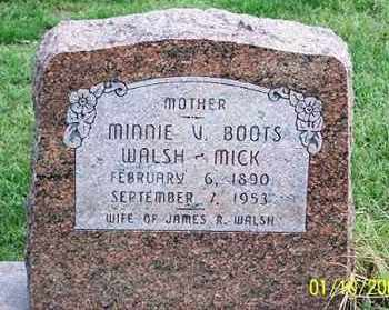 BOOTS WALSH MICK, MINNIE V. - Ross County, Ohio | MINNIE V. BOOTS WALSH MICK - Ohio Gravestone Photos