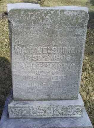 WELSHIMER, ALICE - Ross County, Ohio   ALICE WELSHIMER - Ohio Gravestone Photos