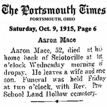 MACE, AARON - Scioto County, Ohio   AARON MACE - Ohio Gravestone Photos