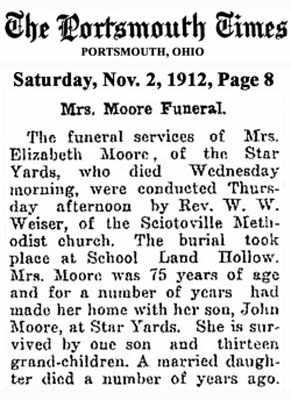 MOORE, ELIZABETH - Scioto County, Ohio | ELIZABETH MOORE - Ohio Gravestone Photos