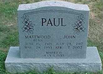 PAUL, MATEWOOD - Scioto County, Ohio | MATEWOOD PAUL - Ohio Gravestone Photos