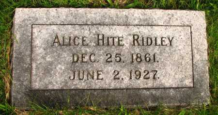 HITE RIDLEY, ALICE - Seneca County, Ohio | ALICE HITE RIDLEY - Ohio Gravestone Photos