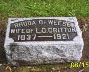 DEWEESE CRITTON, RHODA - Shelby County, Ohio | RHODA DEWEESE CRITTON - Ohio Gravestone Photos