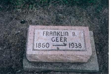 GEER, FRANKLIN B - Shelby County, Ohio | FRANKLIN B GEER - Ohio Gravestone Photos