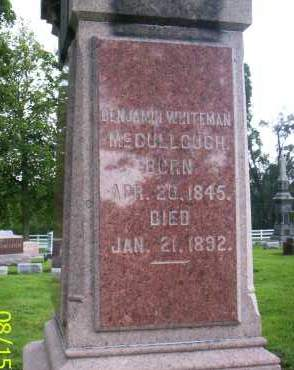 MCCULLOUGH, BENJAMIN WHITEMAN - Shelby County, Ohio | BENJAMIN WHITEMAN MCCULLOUGH - Ohio Gravestone Photos