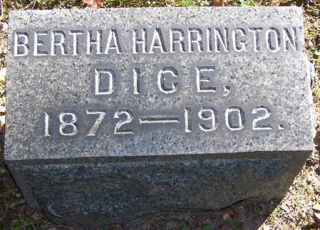 DICE, BERTHA HARRINGTON - Stark County, Ohio   BERTHA HARRINGTON DICE - Ohio Gravestone Photos
