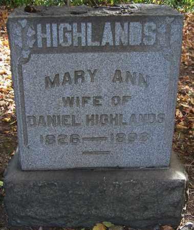 HIGHLANDS, MARY ANN - Stark County, Ohio | MARY ANN HIGHLANDS - Ohio Gravestone Photos