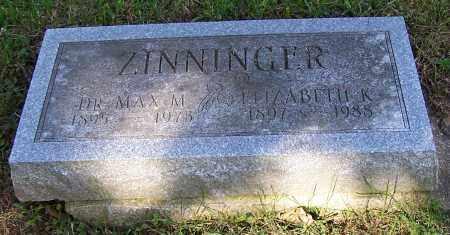 ZINNINGER, ELIZABETH K. - Stark County, Ohio   ELIZABETH K. ZINNINGER - Ohio Gravestone Photos