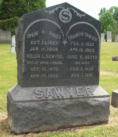 BETTS SAWYER, JANE E. - Trumbull County, Ohio | JANE E. BETTS SAWYER - Ohio Gravestone Photos