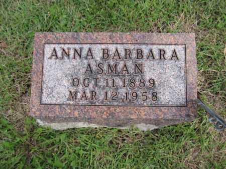 ASMAN, ANNA BARBARA - Union County, Ohio | ANNA BARBARA ASMAN - Ohio Gravestone Photos