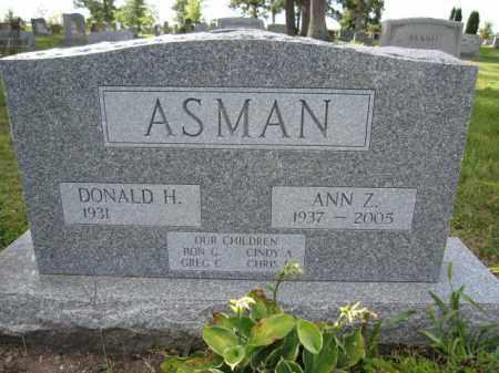 ASMAN, ANN Z. - Union County, Ohio | ANN Z. ASMAN - Ohio Gravestone Photos