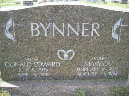 BYNNER, DONALD EDWARD - Union County, Ohio | DONALD EDWARD BYNNER - Ohio Gravestone Photos