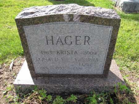 HAGER, VIRGINIA LOWE - Union County, Ohio | VIRGINIA LOWE HAGER - Ohio Gravestone Photos