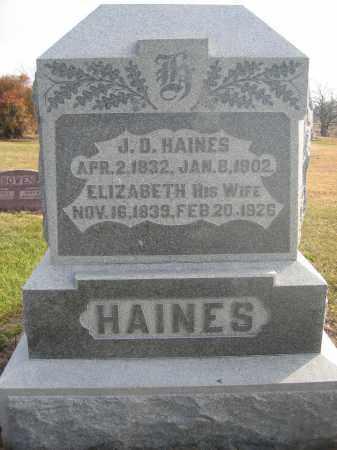HAINES, J.D. - Union County, Ohio   J.D. HAINES - Ohio Gravestone Photos
