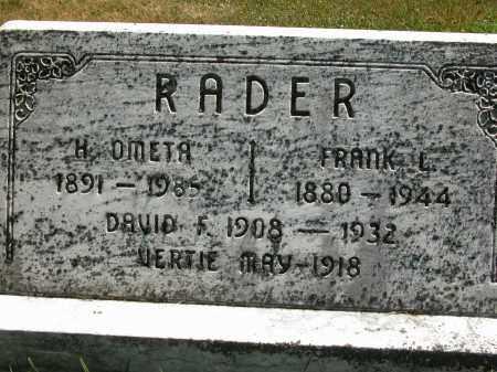 RADER, FRANK L. - Union County, Ohio | FRANK L. RADER - Ohio Gravestone Photos