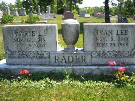 RADER, MARIE L. - Union County, Ohio | MARIE L. RADER - Ohio Gravestone Photos