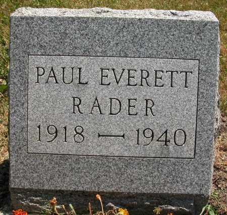 RADER, PAUL EVERETT - Union County, Ohio | PAUL EVERETT RADER - Ohio Gravestone Photos