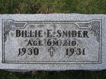 SNIDER, BILLIE E. - Union County, Ohio | BILLIE E. SNIDER - Ohio Gravestone Photos