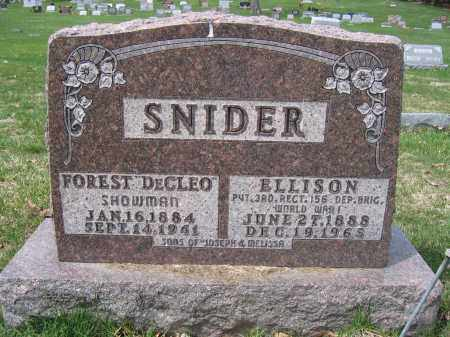 SNIDER, FOREST DECLEO - Union County, Ohio | FOREST DECLEO SNIDER - Ohio Gravestone Photos