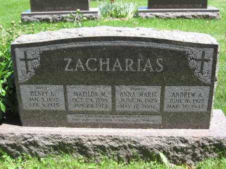 ZACHARIAS, ANNA MARIE - Union County, Ohio | ANNA MARIE ZACHARIAS - Ohio Gravestone Photos
