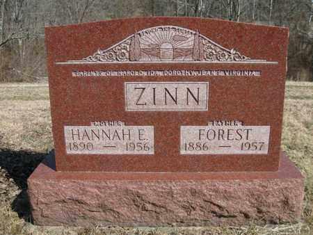 ZINN, FOREST AND HANNAH ELIZA - Vinton County, Ohio | FOREST AND HANNAH ELIZA ZINN - Ohio Gravestone Photos