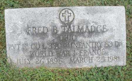TALMADGE, FRED B. - Warren County, Ohio   FRED B. TALMADGE - Ohio Gravestone Photos