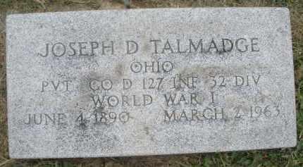 TALMADGE, JOSEPH D. - Warren County, Ohio   JOSEPH D. TALMADGE - Ohio Gravestone Photos