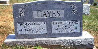 HAYES, THOMAS FRANCIS - Washington County, Ohio | THOMAS FRANCIS HAYES - Ohio Gravestone Photos