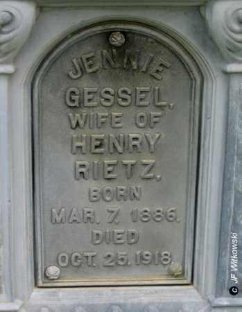 GESSEL RIETZ, JENNIE - Washington County, Ohio   JENNIE GESSEL RIETZ - Ohio Gravestone Photos