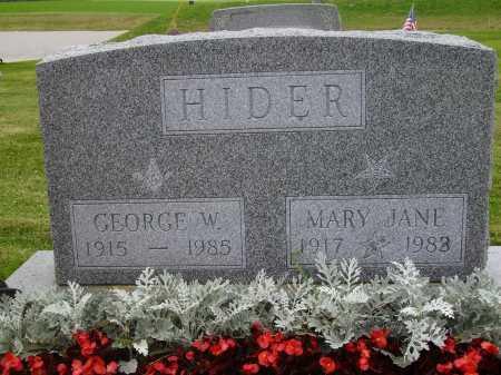 HIDER, MARY JANE - Wayne County, Ohio   MARY JANE HIDER - Ohio Gravestone Photos
