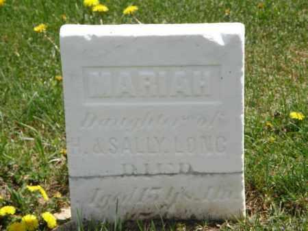 LONG, MARIAH - Wyandot County, Ohio | MARIAH LONG - Ohio Gravestone Photos