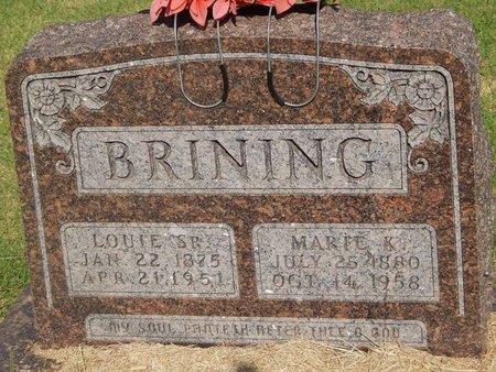 BRINING, LOUIE SR - Alfalfa County, Oklahoma   LOUIE SR BRINING - Oklahoma Gravestone Photos