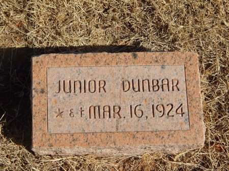 DUNBAR, JUNIOR - Alfalfa County, Oklahoma | JUNIOR DUNBAR - Oklahoma Gravestone Photos