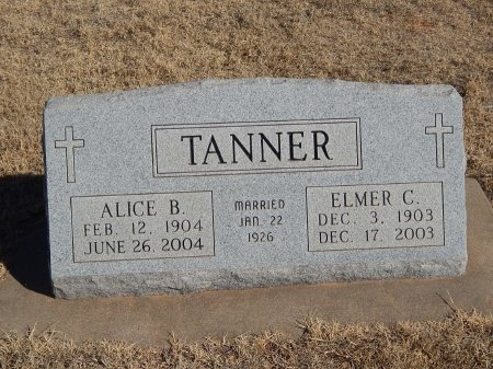 TANNER, ALICE B - Alfalfa County, Oklahoma   ALICE B TANNER - Oklahoma Gravestone Photos