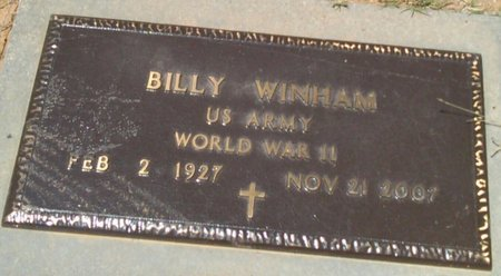 WINHAM, BILLY - Bryan County, Oklahoma   BILLY WINHAM - Oklahoma Gravestone Photos