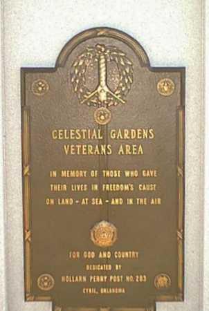 VETERAN'S AREA, *CELESTIAL GARDENS - Caddo County, Oklahoma | *CELESTIAL GARDENS VETERAN'S AREA - Oklahoma Gravestone Photos