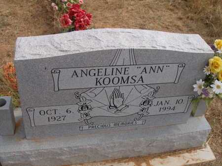 "KOOMSA, ANGELINE  ""ANN"" - Caddo County, Oklahoma | ANGELINE  ""ANN"" KOOMSA - Oklahoma Gravestone Photos"