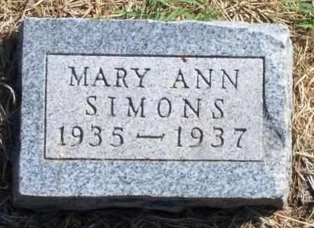 SIMONS, MARY ANN - Canadian County, Oklahoma | MARY ANN SIMONS - Oklahoma Gravestone Photos