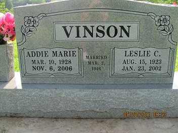 C. VINSON, LESLIE - Cherokee County, Oklahoma | LESLIE C. VINSON - Oklahoma Gravestone Photos