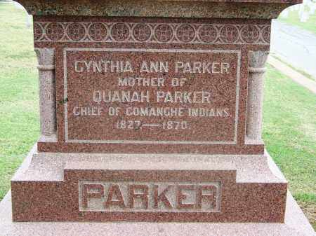 PARKER, CYNTHIA ANN - Comanche County, Oklahoma | CYNTHIA ANN PARKER - Oklahoma Gravestone Photos