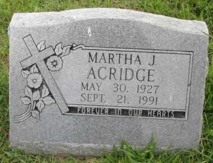 ACRIDGE, MARTHA J - Delaware County, Oklahoma | MARTHA J ACRIDGE - Oklahoma Gravestone Photos