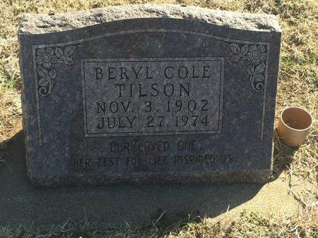 COLE TILSON, BERYL - Grant County, Oklahoma | BERYL COLE TILSON - Oklahoma Gravestone Photos