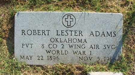 ADAMS (VETERAN WWI), ROBERT LESTER - Greer County, Oklahoma | ROBERT LESTER ADAMS (VETERAN WWI) - Oklahoma Gravestone Photos