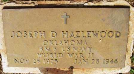 HAZLEWOOD (VETERAN WWII), JOSEPH DAVID - Kiowa County, Oklahoma | JOSEPH DAVID HAZLEWOOD (VETERAN WWII) - Oklahoma Gravestone Photos