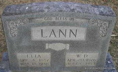 LANN, W  D - Le Flore County, Oklahoma | W  D LANN - Oklahoma Gravestone Photos