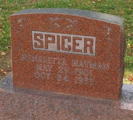 HAYMAN SPICER, HENRIETTA - Ottawa County, Oklahoma | HENRIETTA HAYMAN SPICER - Oklahoma Gravestone Photos