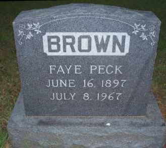 BROWN, FAYE PECK - Stephens County, Oklahoma | FAYE PECK BROWN - Oklahoma Gravestone Photos