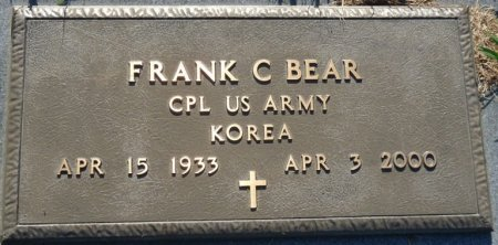 BEAR (VETERAN KOR), FRANK C (NEW) - Tulsa County, Oklahoma | FRANK C (NEW) BEAR (VETERAN KOR) - Oklahoma Gravestone Photos